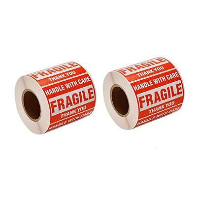 2 x 3 FRAGILE HANDLE WITH CARE Stickers Labels (500 stickers per roll)