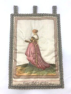 Antique Silk Embroidered Wall Tapestry Cloth Jean Holbein French Lady