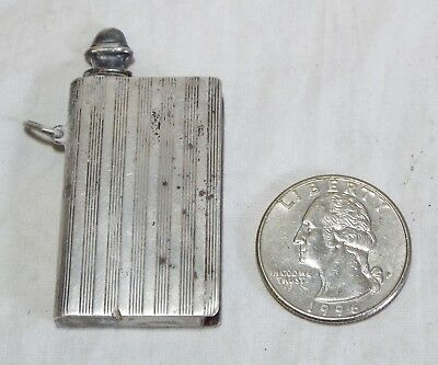 Old Antique Small SILVER Book Shaped CHATELAINE SCENT BOTTLE Perfume