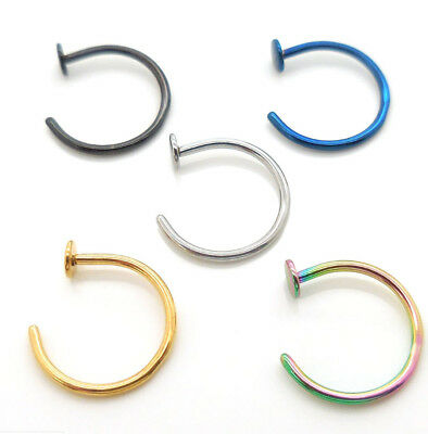 5 Pack NEW Nose Ring Tragus Titanium Plated Hoop 20g,18g Gold Cartilage Earring