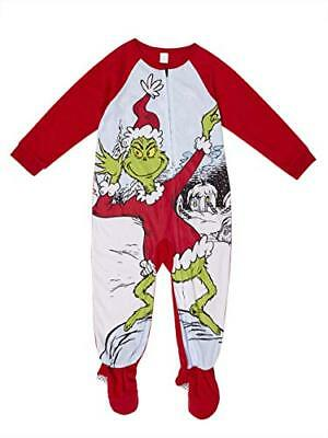 Boys, Girls The Grinch Christmas Holiday Footed Blanket Pajama Sleeper