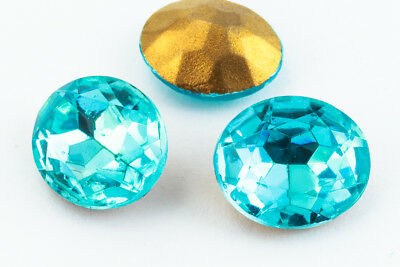10mm x 12mm Aqua Faceted Oval Point Back Cabochon #XGP008-G