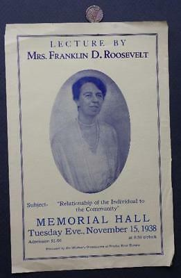 1939 Columbus,Ohio Memorial Hall First Lady Eleanor Roosevelt Lecture flyer-FDR!