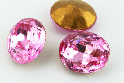 10mm x 12mm Light Rose Faceted Oval Point Back Cabochon #XGP008.5-E