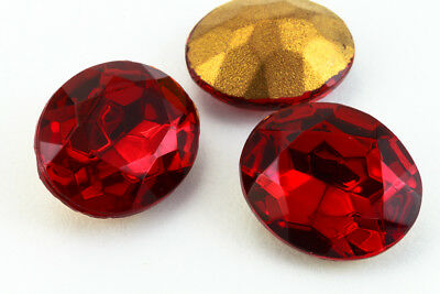 10mm x 12mm Ruby Faceted Oval Point Back Cabochon (2 Pcs) #XGP008.5-F