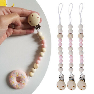 Infant Wooden Beaded Pacifier Holder Clip Nipple Teether Dummy Strap Chain NEW