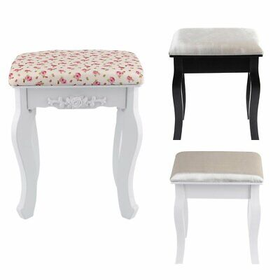 Vintage Stool Dressing Table Piano Chair White Decor Padded Makeup Seat NEW
