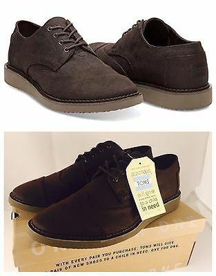 0b82a5bc4d2 New In Box TOMS Men s Brogue Chocolate Brown Aviator Twill Oxford Size 13