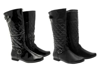 9a0e2d832ae Womens Quilted Biker Riding Boots Knee High Flat Black Girls Ladies Size Uk  3- 8