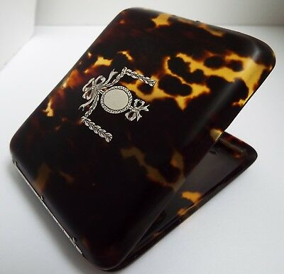 Lovely Scarce Antique Solid Silver Mounted & Faux Tortoiseshell Cigarette Case