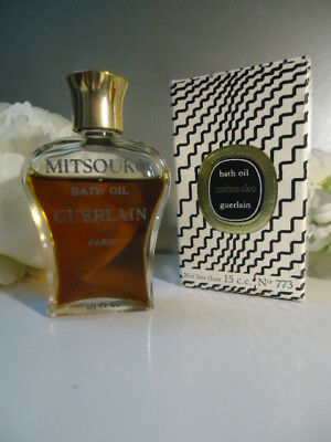 Rare GUERLAIN MITSOUKO 15cc Bath Oil 7cm Lyre Bottle Vintage 1970s New Mint Box