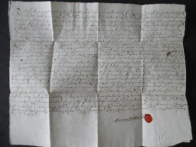 Great Britain County York 1693 Document & Wax Seal