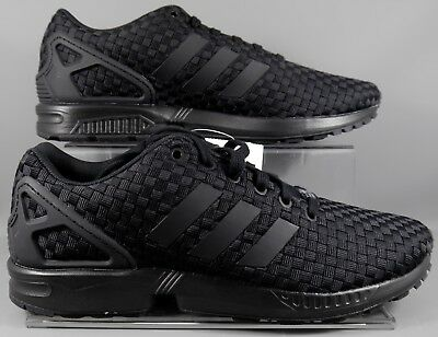 sports shoes 9d3b4 affd7 RARE ! MENS ADIDAS ZX FLUX Woven Triple Black Trainers B34005 (new in box)