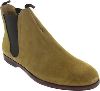 Hudson Tamper Men's Suede Sand Pull On Twin Gusset Leather Chelsea Boots New