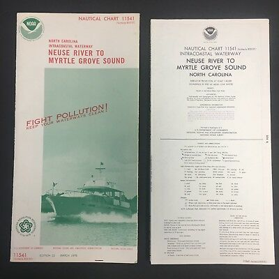 "1976 Nautical Chart/map 11541 W/cover 15X58"" Ex!!! North Carolina Noaa 10318"