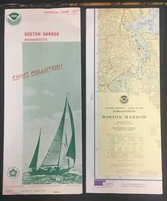 "1976 Nautical Chart/map 13271 W/cover 18.5X50"" Ex!!! Boston Harbor Noaa 10318"