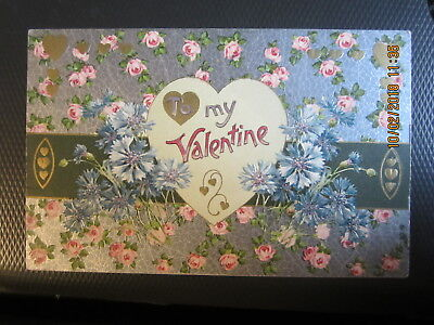 vintage VALENTINE postcard CHINTZ PINK ROSES BLUE FLOWERS HEART use w/st 1909