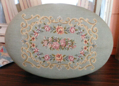 Antique Oval Blue Floral Needlepoint Wood Foot Stool-Elaborate Carving-Gorgeous