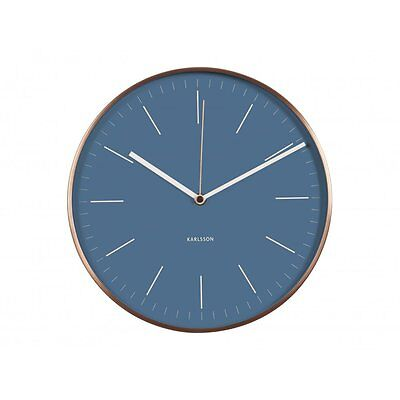Karlsson Minimal Jeans Blue Wall Clock With Copper Case | Hurn And Hurn