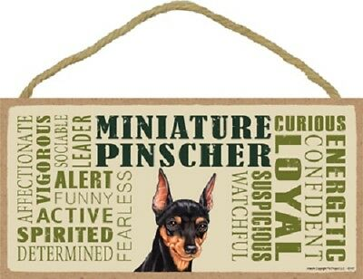 MIN PIN Subway Style DOG SIGN wood WALL HANGING PLAQUE black puppy USA MADE