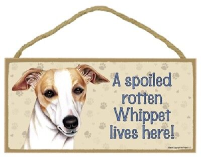 WHIPPET A Spoiled Rotten DOG SIGN wood WALL hanging PLAQUE puppy USA MADE