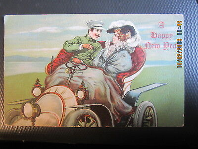 vintage NEW YEAR postcard OLD FASHIONED CAR AND COUPLE used w/stamp 190?