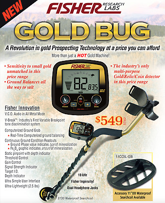 "Fisher Gold Bug Metal Detector w/ 5"" DD Double-D Search Coil and 5 Year Warranty"