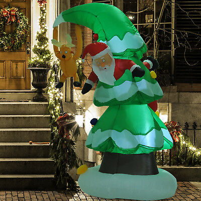 HOMCOM 7 Ft Inflatable Christmas Tree Stuck Santa Lighted Airblown Lawn Outdoor