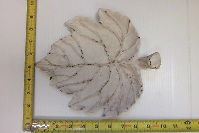 Cast Iron Maple Leaf Trinket Tray White Distressed Paint Style