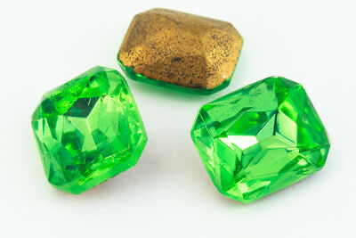 10mm x 12mm Peridot Faceted Octagon Point Back Cabochon #XGP018-A