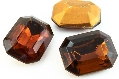 10mm x 12mm Dark Topaz Faceted Octagon Point Back Cabochon #XGP018-C