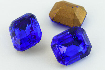 10mm x 12mm Cobalt Faceted Octagon Point Back Cabochon #XGP018-E