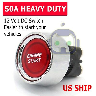 12 Volt DC LED Light Heavy-Duty Momentary Push-Button Starter Switch (50 Amps)