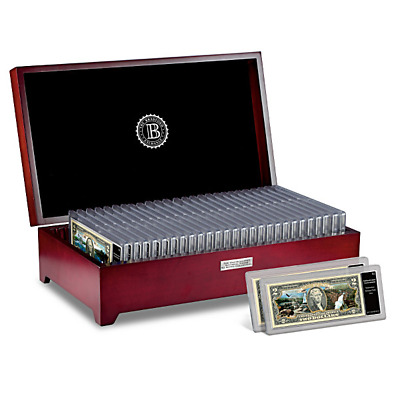 U.s. National Parks $2 Bill Collection Bradford Exchange / Wooden Display Chest