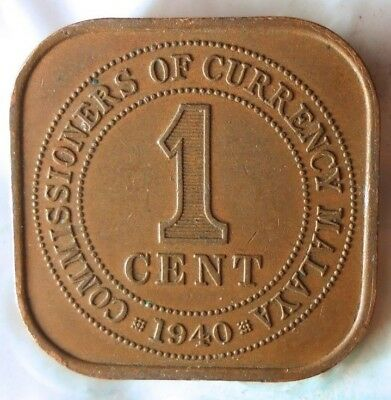 1940 MALAYA CENT - AU - Excellent Vintage Coin - FREE SHIP - BARGAIN BIN #150