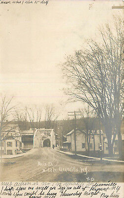 Middle Granville, New York - Main Street - 1907 Undivided Real Photo Postcard