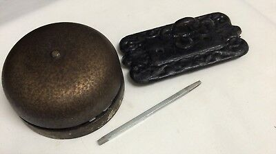 Antique Victorian Metal Door Bell Twist Crank Handle Complete Works Loud Ring