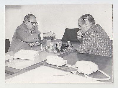 Two Old Man Play Chess Bulgarian Vintage 1970s Real Photo
