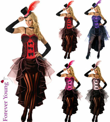 Burlesque Moulin Rouge Fancy Dress Costume Can Can Girl Dance Outfit & Hat Glove