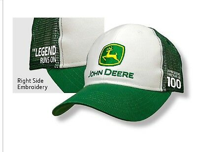 NEW Green and White John Deere Tractor 100th Anniversary Cap LP69986 6729d488c7e6