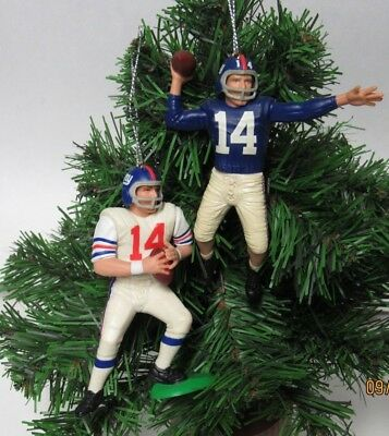 2 Custom Vintage Nfl Holiday Christmas Ornaments New York Giants Y.a. Tittle