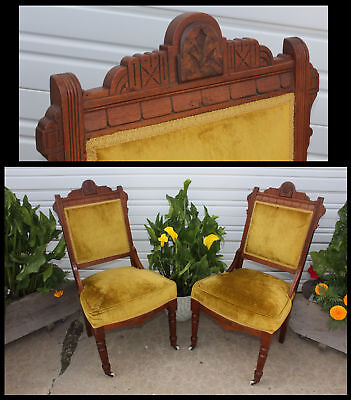 NICE PAIR Victorian Burl Walnut Wood Carved East Lake Velvet Parlor Side Chairs