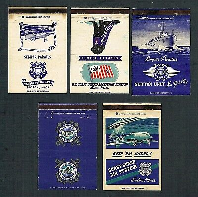 Matchbook Covers Lot of (5) World War 2 U.S. Coast Guard 40-Strikes #C28