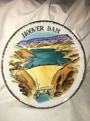 Vintage Hoover Dam Nevada Souvenir Wall Plate Old Decorative Collective Piece