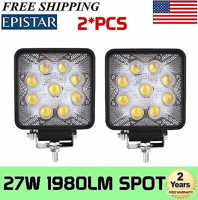 5D+ 2X 4Inch 27W Square Spot Beam Led Work Light Driving Fog Lights Front Bumper