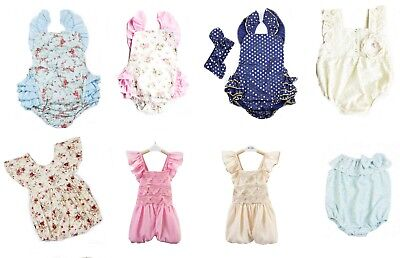 AU Newborn Baby Girl Toddler Vintage Plain Floral Cotton Romper Jumpsuit 3M to3Y