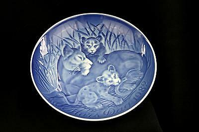 Vintage Bing & Grondahl Collector Plate Mother's Day 1982 Lions Tiger Blue White