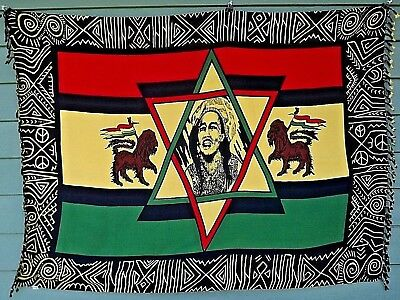 """Rare Vintage Hand Made BOB MARLEY Tapestry Wall Hanging/Wrap/Spread  45"""" x 60"""""""