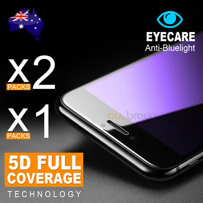 2x 1x 5D Full Cover Glass Tempered Glass Screen Protector iPhone 8 7 6s 6 Plus