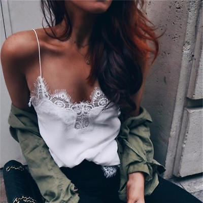 Women Lace Strap Top Shirt Lady Sleeveless Vest Tank Summer Camisole LC